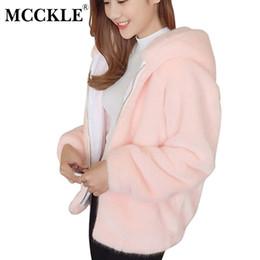 MCCKLE Femmes Fausse Fourrure À Capuche Veste 2017 Automne Hiver Mode Dames  Manteau Avec Chapeau Chic Plus La Taille Outwear Vestes Pour Fille vestes  ... f9661b449c73