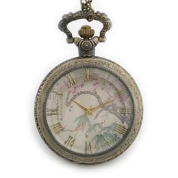 disegno del fiore della prugna Sconti TIEDAN Dropshipping 2018 Nuovo arrivo Plum Blossom Design Dial Retro Pocket Watch Hollow Bronze Steampunk Antique Pocket Watches