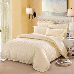 Wholesale Full Bedskirt - 100% Cotton Korea Style White Purple Thick Bedding Set Full Queen Size Bedskirt Winter Duvet Cover Bedspread set Pillowcases