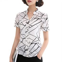 Wholesale V Neck Sleeveless Button Blouse - Women Fashion Blouse Shirts Sleeveless Short Sleeve Tops Summer Office Shirt Chiffon Floral Striped White Black Female Clothing