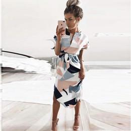 Wholesale Short Elegant White Dress - Summer Style Dress 2017 Casual Asymmetrical Geometric Printing Short Sash Knee-Length Dress O-Neck Elegant Women Dresses