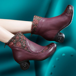 Wholesale Short Purple Heels - Free shipping designer women autumn winter vintage short boots lady embroidery leather ankle boots