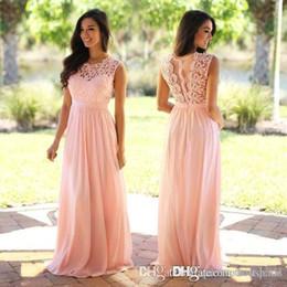 2019 vestidos de moda marfil Elegante Coral Mint Vestidos de dama de encaje Apliques Vestido de invitados de boda Sheer Volver Cremallera Gasa Vestido de novia de dama de honor barato 2018