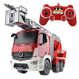 Wholesale Crane Electric - RC Truck Larger Cement Mixer Fire Truck Garbage Crane 2.4G Radio Control Construction Vehicle Model For Kids Gift Hobby Toys