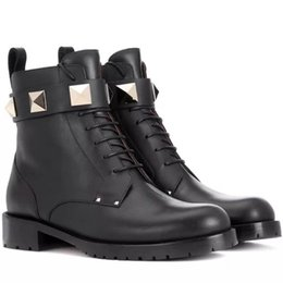 Главная обувь аксессуары сапоги деталь продукта мода~высокое качество~FASHIONVILLE* U480 черный натуральная кожа рок Стад ремень толстые каблуки БУ от Поставщики продуктовый камень