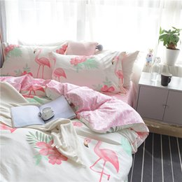 Wholesale Bedding Sets For King Size - Sweet Pink Stripes Bed Sheets 100% Cotton Flamingo Bedding Sets For Adults Queen King Size Fresh Plants Bedding Sets For Adults
