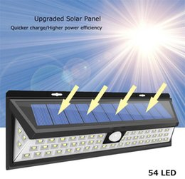 Wholesale sensor side - 54 LED Solar Motion Sensor Light Outdoor Wall Lamp Waterproof Solar Powered Light with 3 Intelligent Modes 3 LEDs Both Side for Gadern