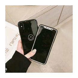Capas de telefone de sorriso on-line-5227-141 capa de silicone preta para iPhoneX, maçante polonês tampa traseira para o iPhone X, caso de telefone fino simples para iPhoneX sorriso rosto