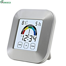 2019 compteurs météorologiques Pawaca EN8806 Salle intérieure LCD électronique température humidité mètre hygromètre numérique station météo réveil promotion compteurs météorologiques