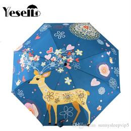 Fille de fleur de peinture à l'huile en Ligne-Yesello Fleurs Elk Original Design Femmes Parapluie Peinture À L'huile 3 Pliant Parasol Lady Portable Fille Ami Cadeau Pour Femme Enfants