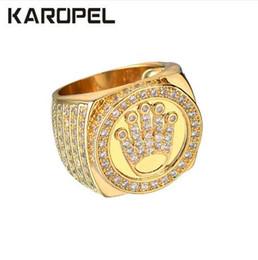 2019 toque o rei dos homens Karopel Hip Hop Bling Jóias Rei Coroa Presente do Dia dos Pais Para Homens Bling Bling Micro Pave CZ Cor de Ouro Anel de Zircão toque o rei dos homens barato
