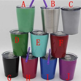 Wholesale vacuum kid - 9oz Vacuum Insulated Double Wall Stainless Steel Lowball Wine Tumbler 9 oz with lid with straw 9oz kid mug cup
