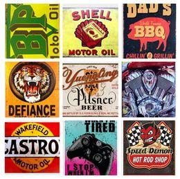 2019 stagno stampato all'ingrosso Champion Shell Motor Oil Garage Route 66 Retro Vintage TIN SIGN vecchia pittura in metallo Bar Man Cave Pub ristorante decorazione della casa J7