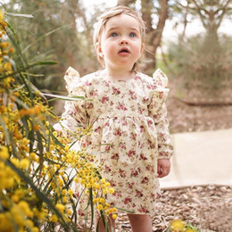 Wholesale Holiday Dresses Baby Girls - Spring and Summer Vintage Floral Baby Girls Dress Pastoral Style Cotton Girls Casual Dresses Holiday Girls Dress