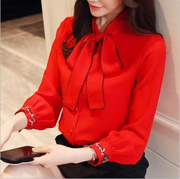 Wholesale White Blouses For Girls - 2018 New Office Lady Chiffon Embroidery Blouses Shirts Girls Formal Bow Neck Shirt Full Sleeve Blouse Tops For Women