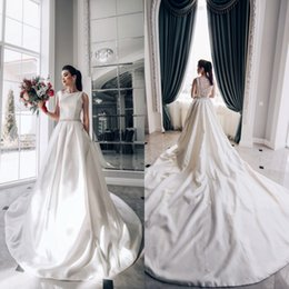 Wholesale boat chart - Elegant Boat Neck A-Line Wedding Dresses 2018 Satin Arabic Bridal Gowns with Sash Chapel Train Sheer Backless