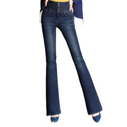 Модные сапоги онлайн-WZJHZ 2018 Autumn High Waist Flare Jeans Pants Size 26-33 Stretch Skinny Jeans Women Wide Leg Slim Hip Denim Boot Cuts