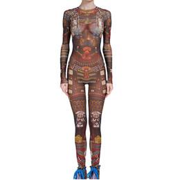 traje de tatuaje Rebajas Envío gratis mono mujeres tribales impresión del tatuaje de malla de manga larga sexy body celebrity catsuit playsuit bodycon mono