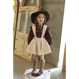 Wholesale Girls Ruffle Shirt Embroidery - Fashion Children Girls Dress Embroidery Suspender Dress Long Sleeve Shirt+Dress 2 PCS 2 Colors 5 p l