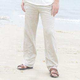 ec47bd1b3c11 86 Summer Spring Mens Linen Long Pants Elastic Waist Solid Color Straight  Casual Loose Cool Long Trousers Plus Size M-3XL discount mens linen pants  elastic ...