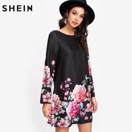 Шеин цветок печати туника платье многоцветный лодка шеи длинным рукавом прямые платья цветочные осень повседневная женщины платья от
