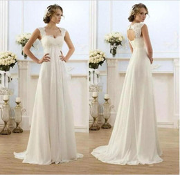 Wholesale Cheap Maternity Dresses For Wedding - 2018 In Stock Ivory A Line Pregnant Wedding Dresses Lace Chiffon Empire Bridal Gown For Maternity Cheap Vestido