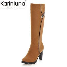 Wholesale Spikes High Platform Boots - KARINLUNA 2017 large size 34-43 Fashion Knee High Boots women Vintage spike High Heels Platform Boots Winter Shoes woman A18