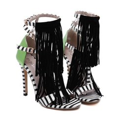 Wholesale Gladiator Style Dresses - Summer new Tassel Style Sandals For Women Gladiator High Heel fringe sandals Sexy Stripped ladies Shoes Brand Designers size 35-40