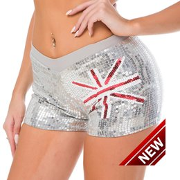 Wholesale Sexy Women Military - 08# New Pattern Sexy Ds Dance Show Serve Steel Pipe Hip Hop Dance Performance Clothing Woman Paillette Short womens sport shorts for women