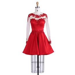 2019 estilo vestido de vestido vermelho Lindo Design de Mangas Compridas A-Line Estilo Homecoming Vestido Com Apliques de Contas Vermelho Atraente Desgaste Da Festa de Aniversário estilo vestido de vestido vermelho barato
