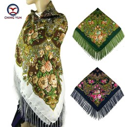 floral cotton square scarf Promo Codes - 2017 Winter New Fashion women's tassel Scarf Square Floral Printed Brand shawls Female Scarf women cotton scarves wraps 120-4