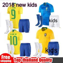 Wholesale Neymar Brazil Soccer - 2018 Brazil kids kit Jersey World Cup NEYMAR JR G.JESUS P.COUTINHO MARCELO RONALDINHO DAVID LUIZ Soccer Jersey 2019 Brazil Football Jersey