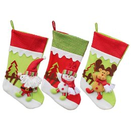 Wholesale Large Hanging Ornaments - 3 Patterns Pull Flannel Large Size Christmas Stocking Socks Christmas Supply Socks Lovely Hanging Ornament Decoration 45cm