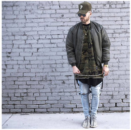 Wholesale Hip Hop Tassels T Shirt - 2018 Hot Over Size Men's Camouflage Long Sleeved T-Shirt Street Hip-Hop Style Kanye Same T-Shirt With Streamers
