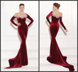 Canada Robes de soirée porter 2019 nouvelle robe de bal de vin rouge sirène velours perlé zippée dos robes de soirée de la mode formelle, plus la taille des manches longues 128 cheap sexy red velvet mermaid prom dresses Offre