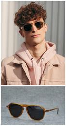16acdbc518 2018 Newest MOSCQT JASPO Pilot Sunglasses Single Bridge Blonde Polarized Sunglasses  52 18 145 Pure Plank Frame Full Set Case OEM Factory Sarah Palin ...