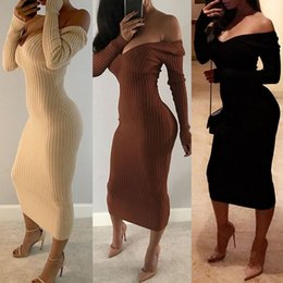 Wholesale Ribbed Dress - 2017 Fashion women Sexy Rib-knit Off Shoulder Bodycon Maxi Dress