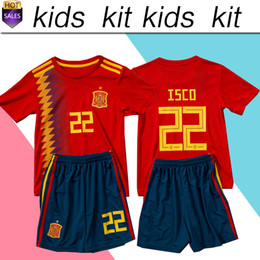 Wholesale Spain Soccer Jersey Kids - 2018 world cup Spain soccer Jersey Kids Kit 2018 Spain home red Soccer Jerseys #7 MORATA #22 ISCO Child Soccer Shirts uniform jersey+shorts