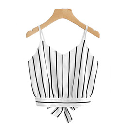 Wholesale Bow Back Tops - Striped Back Cami Top Women Casual Spaghetti Strap Top Vest Bow Knot 2018 Summer Beach Vest