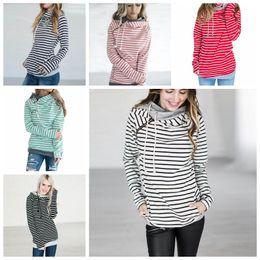 Wholesale Hood Hoodies - striped double Hood Hooded Hoodies Sweatshirts Women Drawstring Pullovers Hoodie Patchwork Sweatshirt spring autumn Coat Maternity Tops