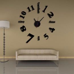 Orologio digitale lungo online-Stereo 3D fai da te orologio digitale personalità lungo servizio vita orologio per la decorazione domestica Wall Art orologi specchio mute 12md BB