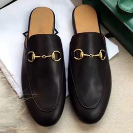 Pantofole piane del rhinestone online-Nuovo arrivo in vera pelle farfalla-nodo pantofole piatte strass scarpe donna designer mocassini slip on muli diapositive size35-40