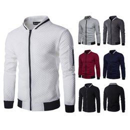 Wholesale Stand Up Collar Jackets - 2018 Brand Whatlees Mens Casual Soft Lightweight Zip Up Baseball Collar Bomber Jacket with Diamond Plaid Design Men Sweatshirts