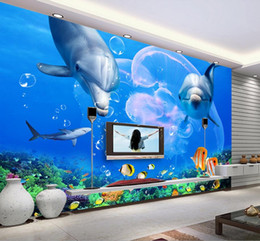 Wholesale great wall decor - Wholesale-custom photo wall mural wallpaper-non-woven wallpaper Dolphin Great White Shark Underwater World TV Background Wall home decor