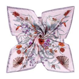 Большой квадратный Шелковый цветочный принт шарф женская мода тонкий шейный платок Фулард Femme шарфы оптом 90*90 см от