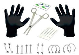1 Set Professionale Piercing Kit di Strumenti Ear Body Piercing Kit di Gioielli Sterile Pancia Corpo Anello Ago Set di Strumenti DHL Libero G614S da