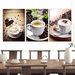 Wholesale Scene Wall - 3 Panels Wall Art Picture Canvas Paintings Wall Decoration Unframed Canvas Photo Prints Modern Kitchen Scene Coffee