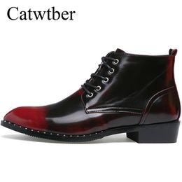 Трендовая обувь британская онлайн-Catwtber Business Dress Men Shoes  Boots Leather Boots Casual Walking Men Motorcycle Boots Botas Hombre Shoe Trend British