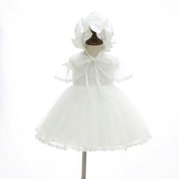 cappelli di battesimo delle ragazze Sconti 2018 New Newborn Baby Girl Abito da battesimo Primo compleanno Principessa Battesimo Dress + Cape + Hat Toddler Baby Clothing 6116BB