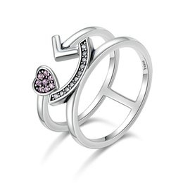 Wholesale Pleasures Women - 100% 925 Sterling Silver Double Layer Pleasure Smiling Face Open Finger Rings for Women Authentic Silver Jewelry SCR135